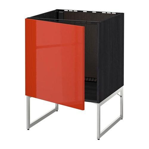 Metod Base Cabinet For Sink Black Järsta Orange 60x60 Cm: Wood Effect Black, Järsta