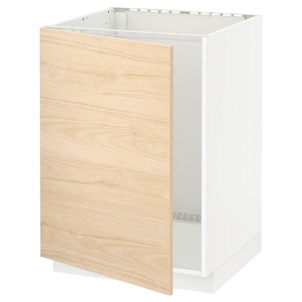 METOD Base cabinet for sink, white/Askersund light ash effect, 60x60x80 cm