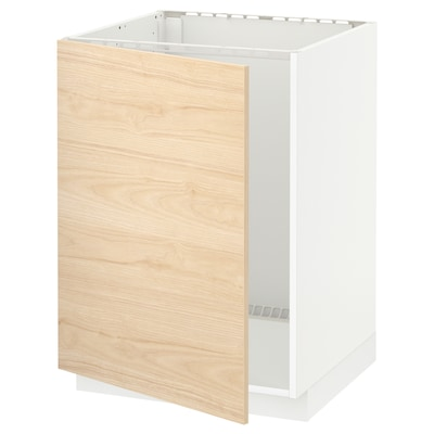 METOD Base cabinet for sink, white/Askersund light ash effect, 60x60x80 cm