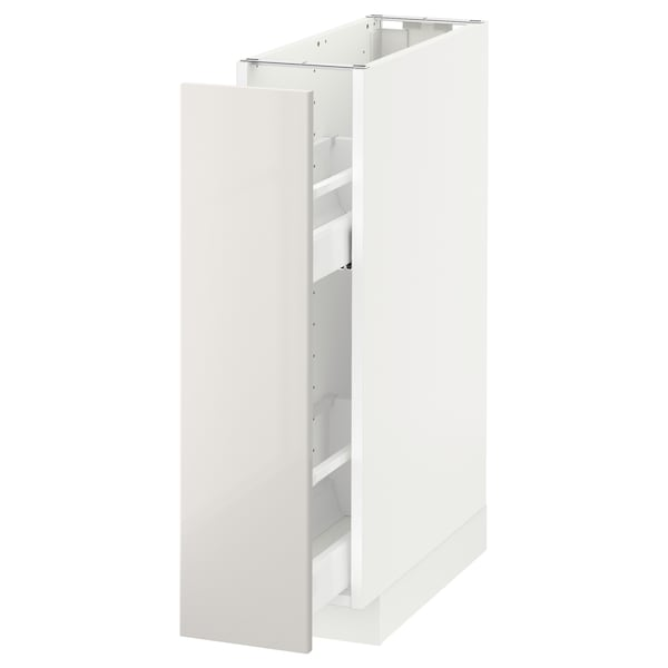 METOD Base cabinet/pull-out int fittings, white/Ringhult light grey, 20x60x80 cm