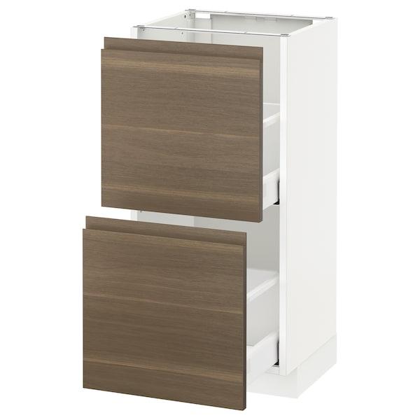 METOD base cabinet with 2 drawers white Maximera/Voxtorp walnut 40.0 cm 39.1 cm 88.0 cm 37.0 cm 80.0 cm