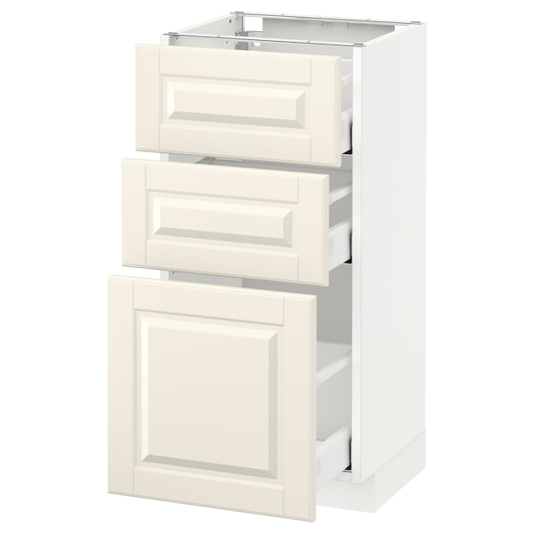 METOD Base cabinet with 3 drawers, white Maximera/Bodbyn off-white, 40x37x80 cm