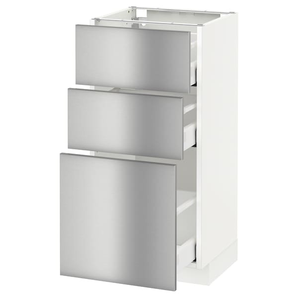 METOD base cabinet with 3 drawers white Maximera/Grevsta stainless steel 40.0 cm 38.8 cm 88.0 cm 37.0 cm 80.0 cm