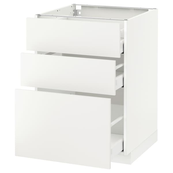 METOD Base cabinet with 3 drawers, white Maximera/Häggeby white, 60x60x80 cm