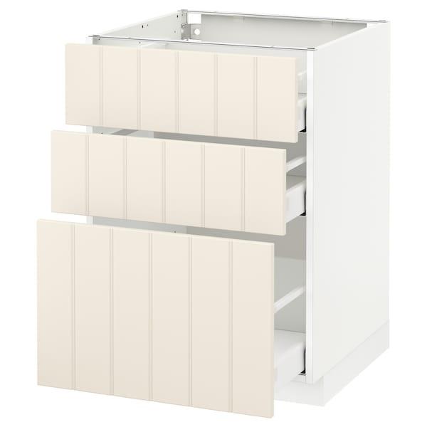 METOD Base cabinet with 3 drawers, white Maximera/Hittarp off-white, 60x60x80 cm