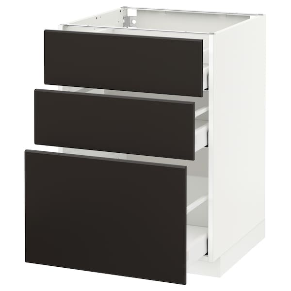 METOD Base cabinet with 3 drawers, white Maximera/Kungsbacka anthracite, 60x60x80 cm