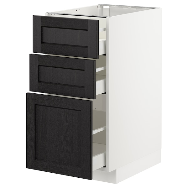 METOD Base cabinet with 3 drawers, white Maximera/Lerhyttan black stained, 40x60x80 cm