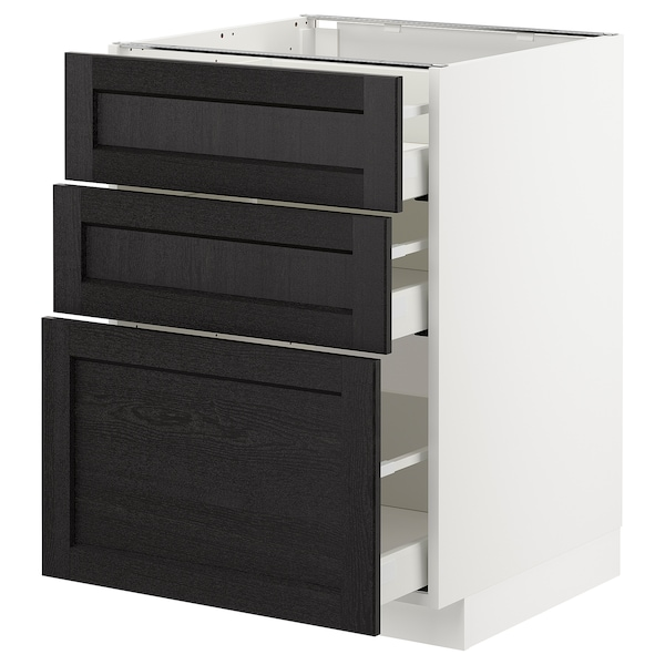 METOD Base cabinet with 3 drawers, white Maximera/Lerhyttan black stained, 60x60x80 cm