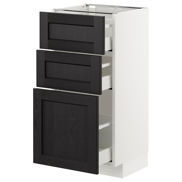 METOD Base cabinet with 3 drawers, white Maximera/Lerhyttan black stained, 40x37x80 cm