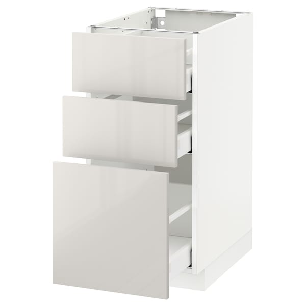 METOD Base cabinet with 3 drawers, white Maximera/Ringhult light grey, 40x60x80 cm