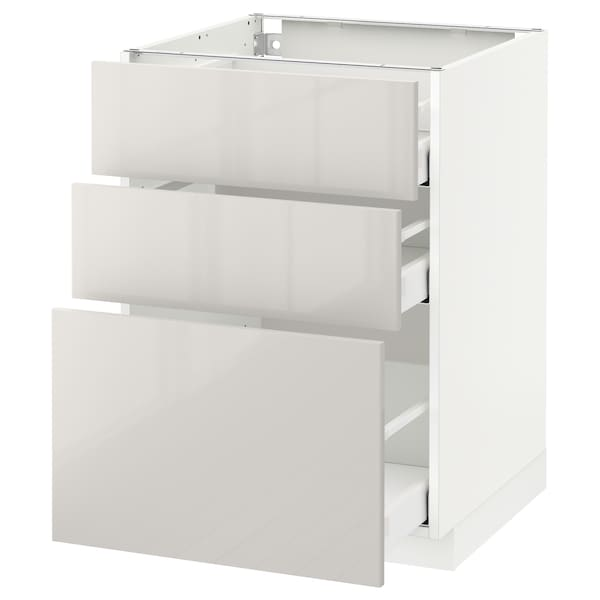 METOD Base cabinet with 3 drawers, white Maximera/Ringhult light grey, 60x60x80 cm