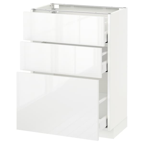 METOD Base cabinet with 3 drawers, white Maximera/Ringhult white, 60x37x80 cm