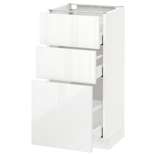 METOD Base cabinet with 3 drawers, white Maximera/Ringhult white, 40x37x80 cm
