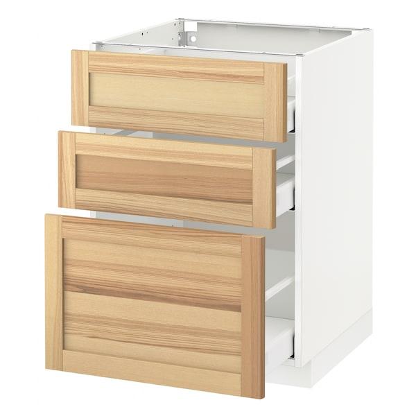 METOD Base cabinet with 3 drawers, white Maximera/Torhamn ash, 60x60x80 cm