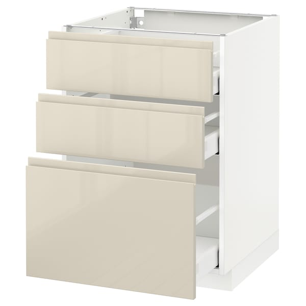 METOD Base cabinet with 3 drawers, white Maximera/Voxtorp high-gloss light beige, 60x60x80 cm