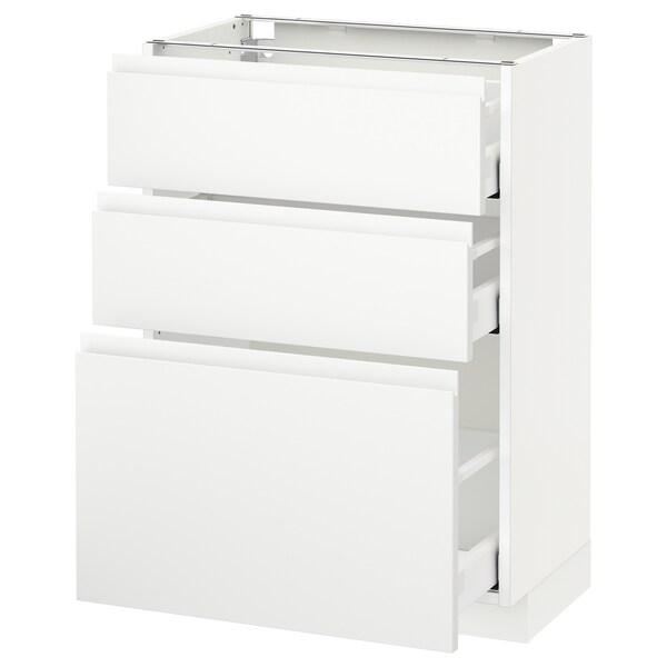 METOD Base cabinet with 3 drawers, white Maximera/Voxtorp matt white, 60x37x80 cm