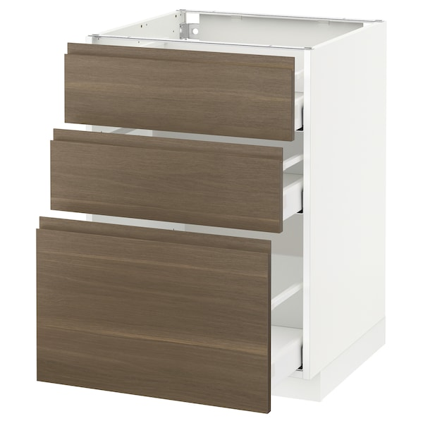 METOD Base cabinet with 3 drawers, white Maximera/Voxtorp walnut, 60x60x80 cm