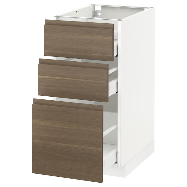 METOD Base cabinet with 3 drawers, white Maximera/Voxtorp walnut, 40x60x80 cm