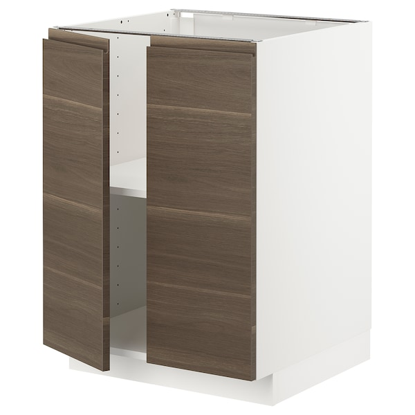 METOD Base cabinet with shelves/2 doors, white/Voxtorp walnut effect, 60x60x80 cm