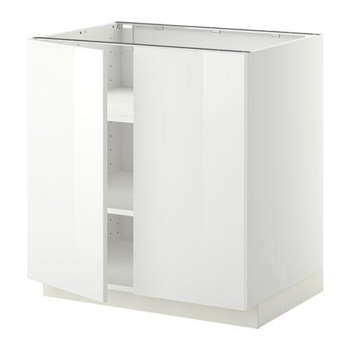 Metod Base Cabinet With Shelves2 Doors White Ringhult High Gloss