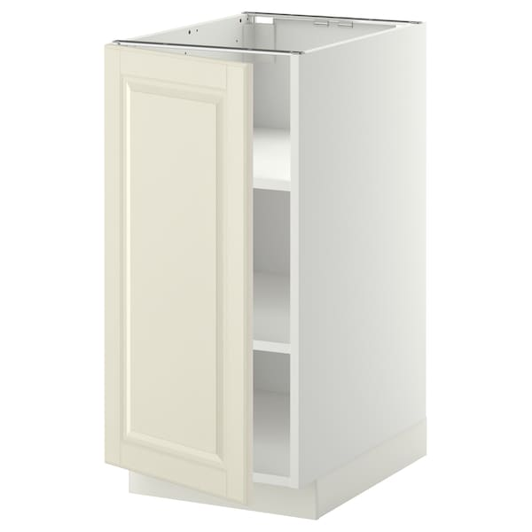 METOD Base cabinet with shelves, white/Bodbyn off-white, 40x60x80 cm