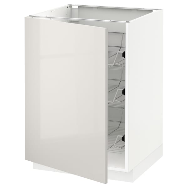 METOD Base cabinet with wire baskets, white/Ringhult light grey, 60x60x80 cm