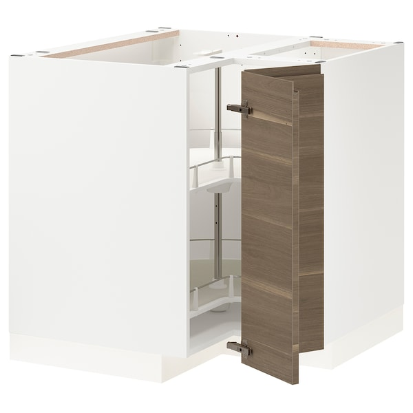 METOD Corner base cabinet with carousel, white/Voxtorp walnut effect, 88x88x80 cm
