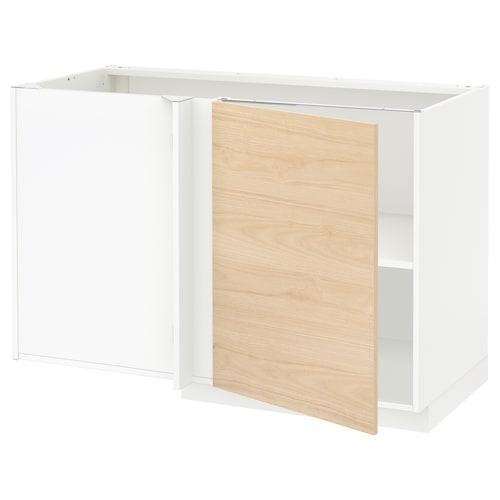 METOD corner base cabinet with shelf white/Askersund light ash effect 127.5 cm 67.5 cm 69.3 cm 80.0 cm
