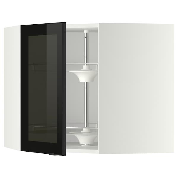 METOD Corner wall cab w carousel/glass dr, white/Jutis smoked glass, 68x37x60 cm