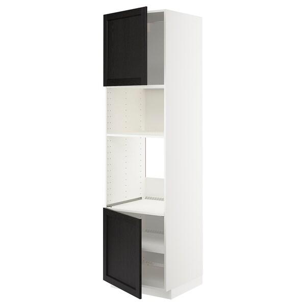 METOD Hi cb f oven/micro w 2 drs/shelves, white/Lerhyttan black stained, 60x60x220 cm