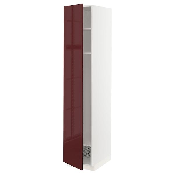 METOD High cabinet w shelves/wire basket, white Kallarp/high-gloss dark red-brown, 40x60x200 cm