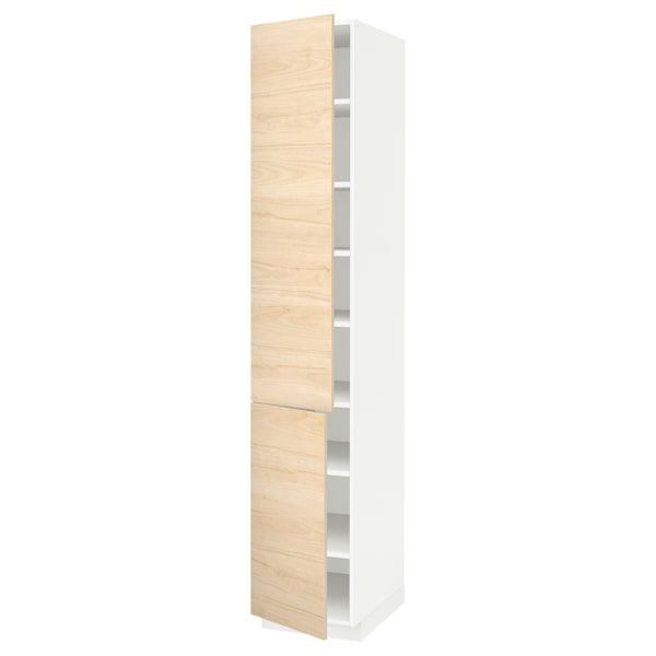 METOD High cabinet with shelves/2 doors, white/Askersund light ash effect, 40x60x220 cm