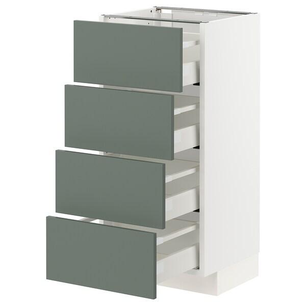 METOD / MAXIMERA Base cab 4 frnts/4 drawers, white/Bodarp grey-green, 40x37x80 cm