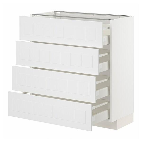 METOD / MAXIMERA Base cab 4 frnts/4 drawers, white/Stensund white, 80x37x80 cm