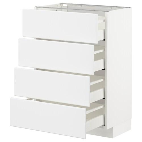 METOD / MAXIMERA base cab 4 frnts/4 drawers white/Kungsbacka matt white 60.0 cm 38.8 cm 37.0 cm 80.0 cm
