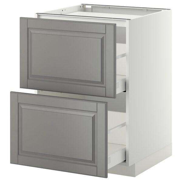METOD / MAXIMERA Base cab f hob/2 fronts/2 drawers, white/Bodbyn grey, 60x60x80 cm