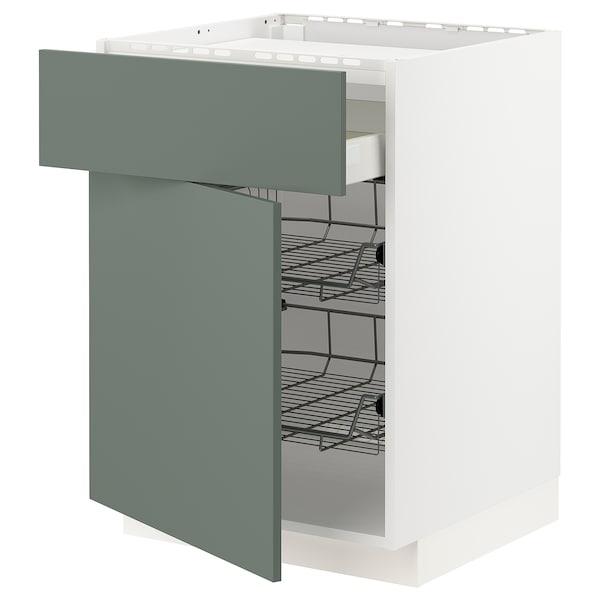 METOD / MAXIMERA Base cab f hob/drawer/2 wire bskts, white/Bodarp grey-green, 60x60x80 cm