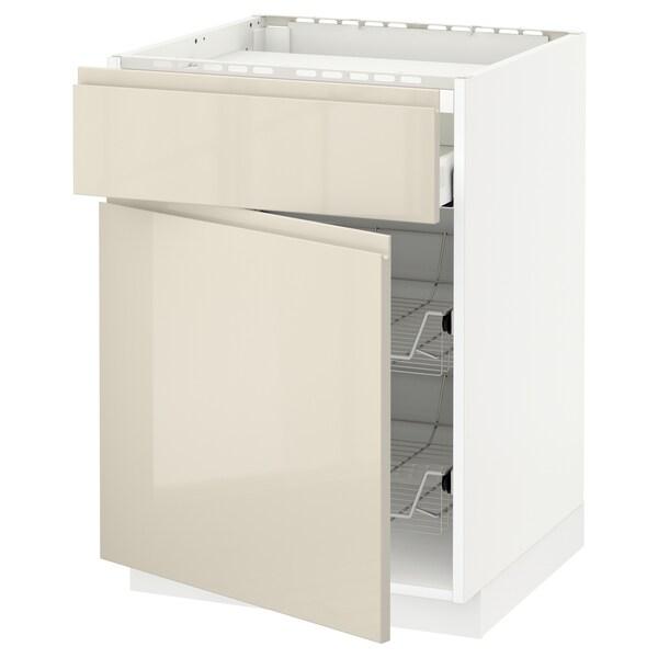 METOD / MAXIMERA Base cab f hob/drawer/2 wire bskts, white/Voxtorp high-gloss light beige, 60x60x80 cm