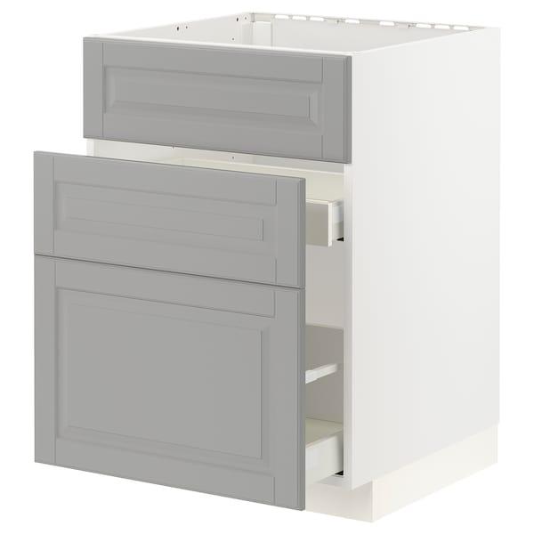 METOD / MAXIMERA Base cab f sink+3 fronts/2 drawers, white/Bodbyn grey, 60x60x80 cm