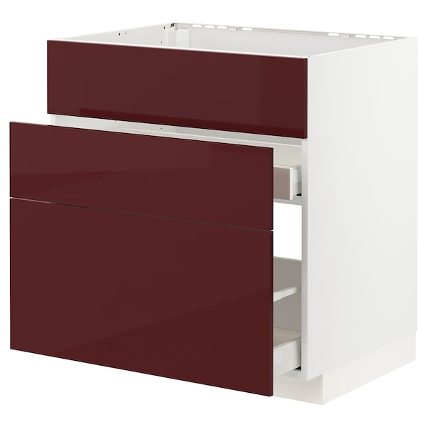 METOD / MAXIMERA Base cab f sink+3 fronts/2 drawers, white Kallarp/high-gloss dark red-brown, 80x60x80 cm