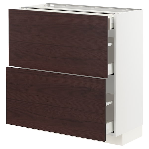 METOD / MAXIMERA Base cab with 2 fronts/3 drawers, white Askersund/dark brown ash effect, 80x37x80 cm