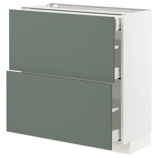 METOD / MAXIMERA Base cab with 2 fronts/3 drawers, white/Bodarp grey-green, 80x37x80 cm