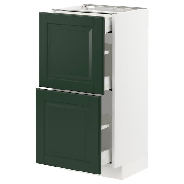 METOD / MAXIMERA Base cab with 2 fronts/3 drawers, white/Bodbyn dark green, 40x37x80 cm