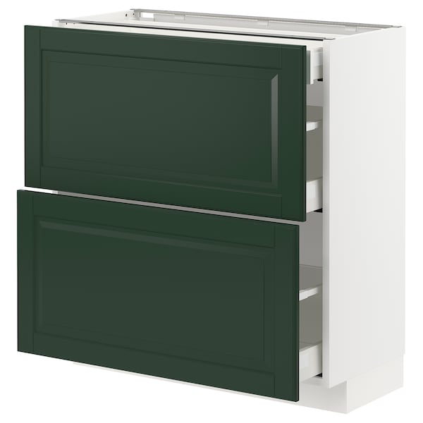 METOD / MAXIMERA Base cab with 2 fronts/3 drawers, white/Bodbyn dark green, 80x37x80 cm