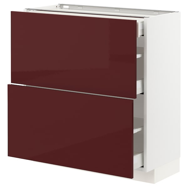 METOD / MAXIMERA Base cab with 2 fronts/3 drawers, white Kallarp/high-gloss dark red-brown, 80x37x80 cm