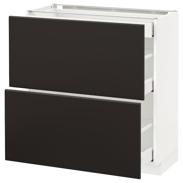 METOD / MAXIMERA Base cab with 2 fronts/3 drawers, white/Kungsbacka anthracite, 80x37x80 cm