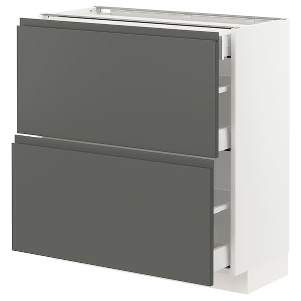 METOD / MAXIMERA Base cab with 2 fronts/3 drawers, white/Voxtorp dark grey, 80x37x80 cm