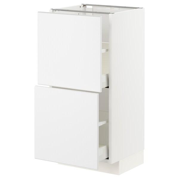 METOD / MAXIMERA base cabinet with 2 drawers white/Kungsbacka matt white 40.0 cm 37 cm 38.6 cm 80.0 cm