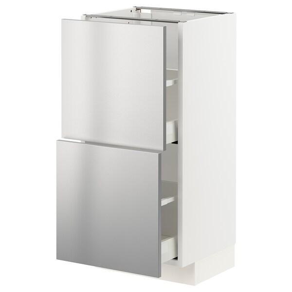 METOD / MAXIMERA base cabinet with 2 drawers white/Vårsta stainless steel 40.0 cm 37 cm 38.6 cm 80.0 cm
