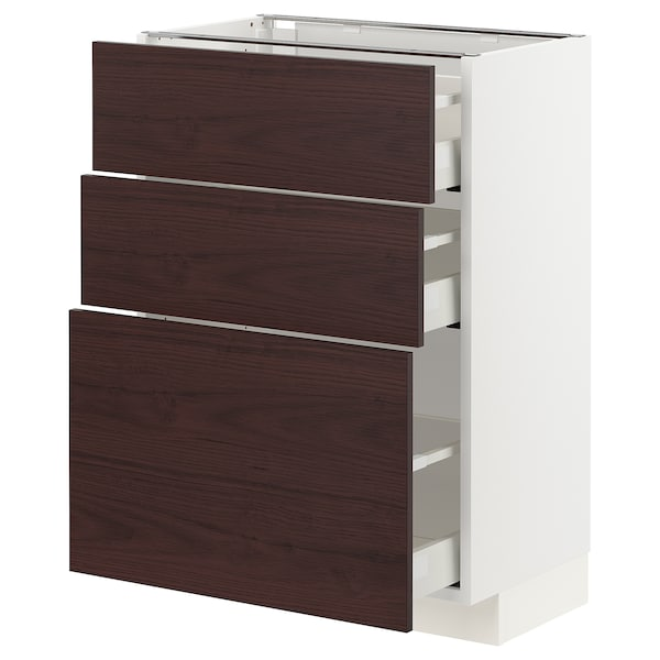 METOD / MAXIMERA Base cabinet with 3 drawers, white Askersund/dark brown ash effect, 60x37x80 cm